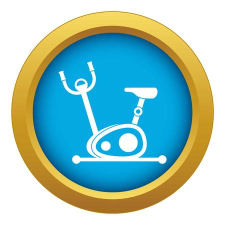Exercise bike icon blue vector isolated on white background for any design
