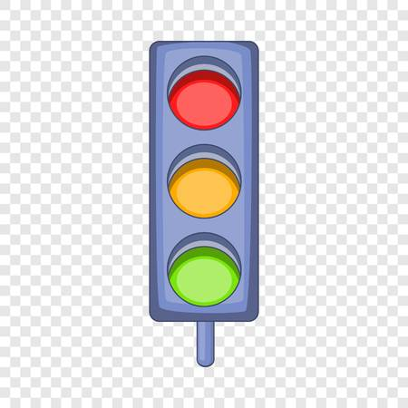 Traffic light icon, cartoon style