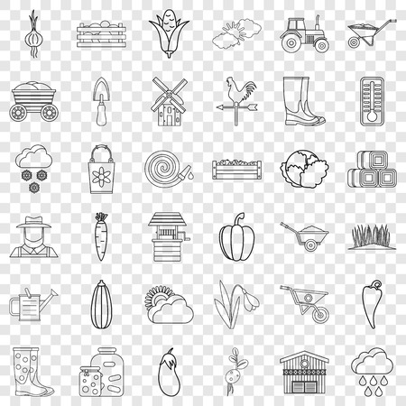 Autumn icons set, outline style Illustration