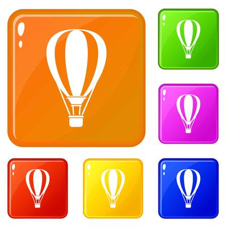 Hot air ballon icons set vector color