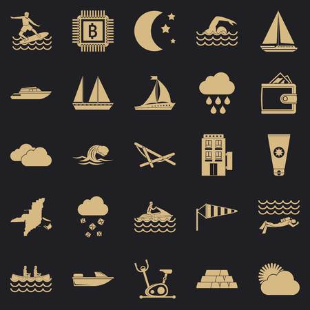 Water exercise icons set. Simple set of 25 water exercise vector icons for web for any design