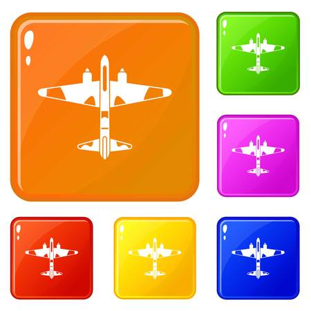 Military fighter aircraft icons set collection vector 6 color isolated on white background Ilustração