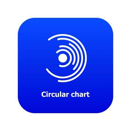 Circular chart icon blue vector