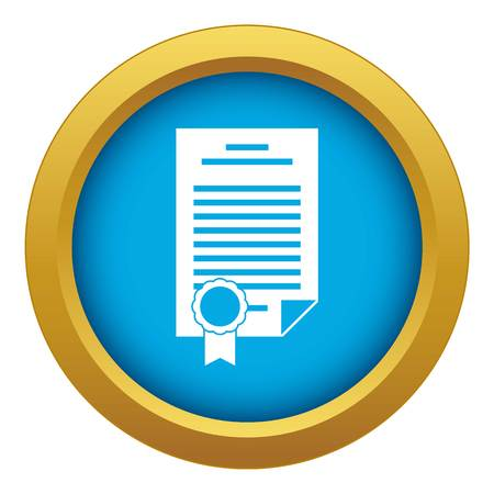 Contract icon blue vector isolated