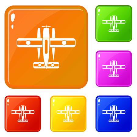 Ski equipped airplane icons set collection vector 6 color isolated on white background