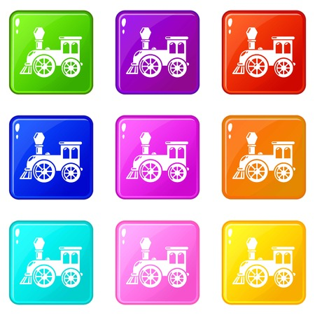 Old train icons set 9 color collection