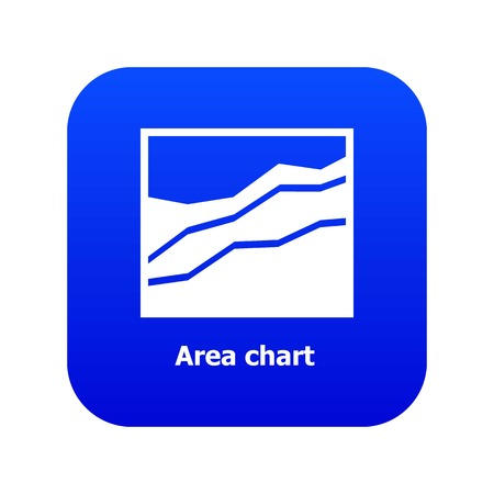 Area chart icon blue vector Çizim