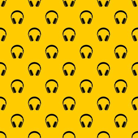 Headphones pattern seamless vector repeat geometric yellow for any design Çizim