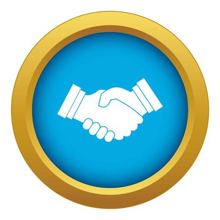 Business handshake icon blue vector isolated on white background for any design