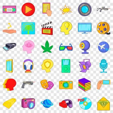 Processing icons set, cartoon style Vektorové ilustrace