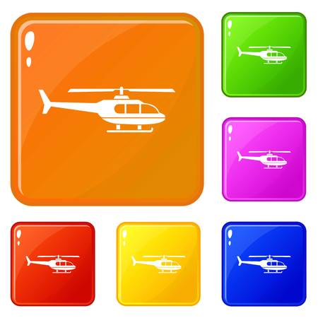 Military helicopter icons set collection vector 6 color isolated on white background