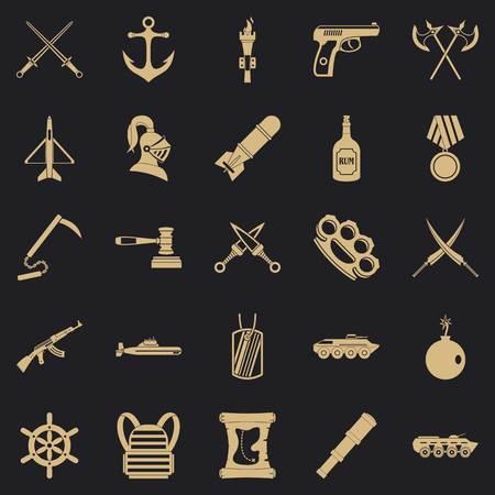 Rüstungssymbole eingestellt, einfacher Stil Vektorgrafik