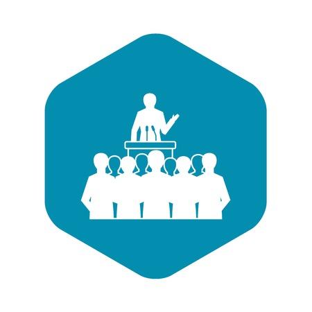 Political speaker icon. Simple illustration of political speaker vector icon for web design isolated on white background Stock Illustratie