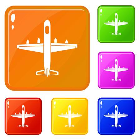 Military plane icons set collection vector 6 color isolated on white background