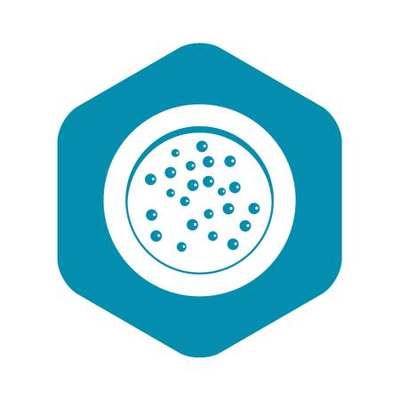 Peppercorns on a plate icon. Simple illustration of peppercorns on a plate vector icon for web