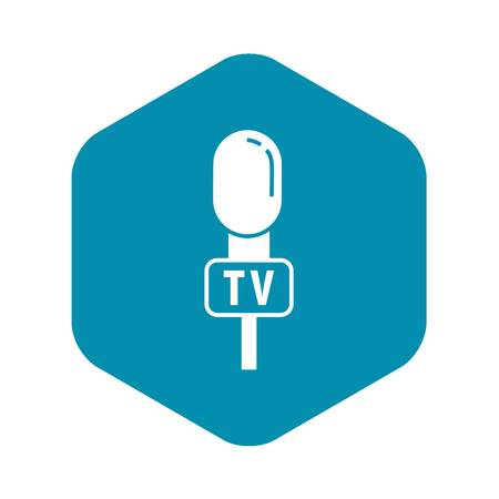Tv reporter microphone icon. Simple illustration of tv reporter microphone vector icon for web design isolated on white background Vectores