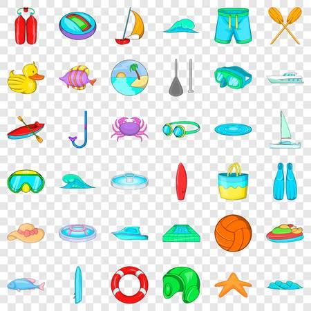 Water sport icons set, cartoon style