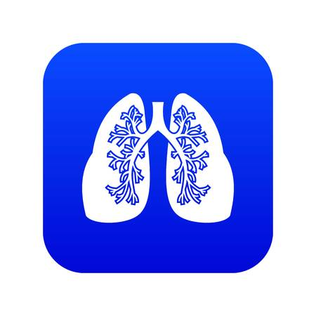 Lungs icon digital blue Vettoriali
