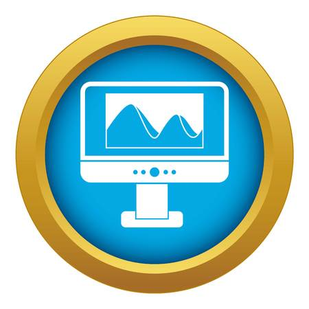 Computer monitor with photo on the screen icon blue vector isolated on white background for any design
