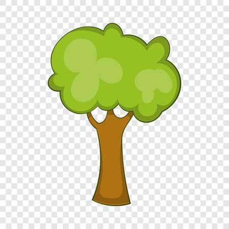 Green tree icon, cartoon style Illustration