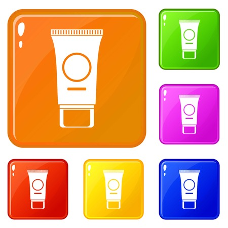 Cosmetic cream tube icons set collection vector 6 color isolated on white background