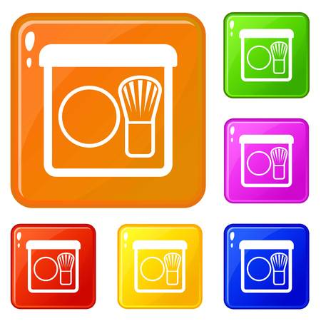 Rouge with brush icons set vector color Illustration