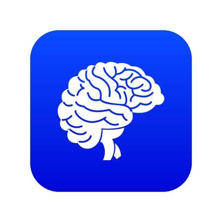 Brain icon digital blue Illustration