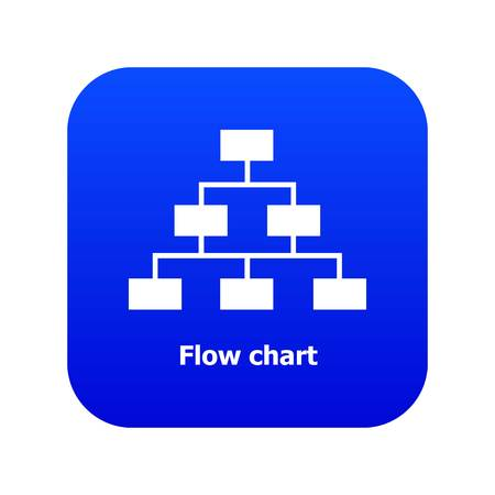 Flow chart icon blue vector Çizim