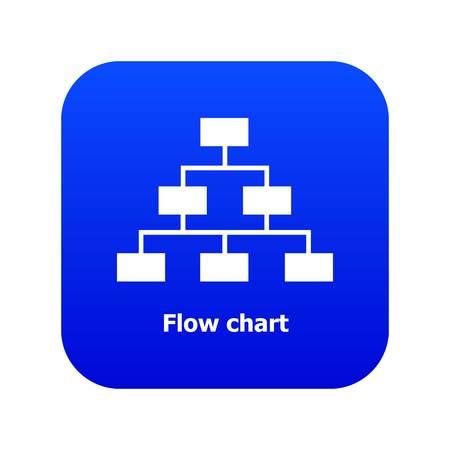 Flow chart icon blue vector Illustration