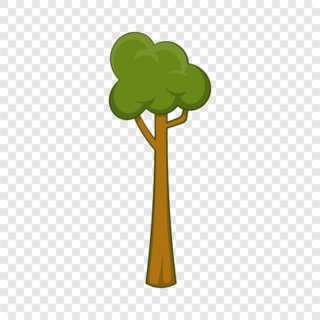 Thin tree icon, cartoon style