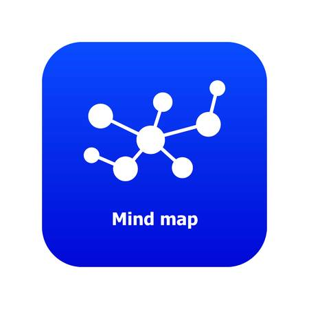 Mind map icon blue vector