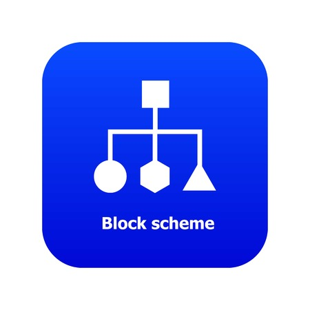 Block scheme icon blue vector isolated on white background