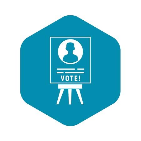 Icône d'affiche de candidat de vote. Simple illustration de l'icône vecteur affiche candidat vote pour la conception web isolé sur fond blanc Vecteurs
