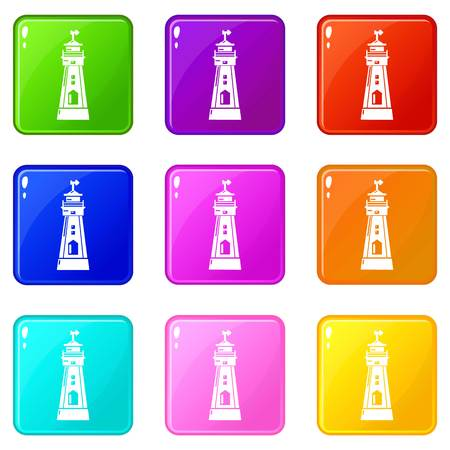 Coast tower icons set 9 color collection 矢量图像