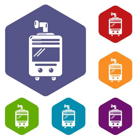 Oven-stove icons vector hexahedron