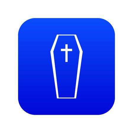 Coffin icon digital blue Ilustrace
