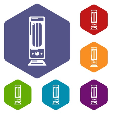 Oil heater icons vector hexahedron
