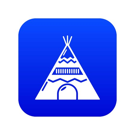 Indian tent icon blue vector isolated on white background