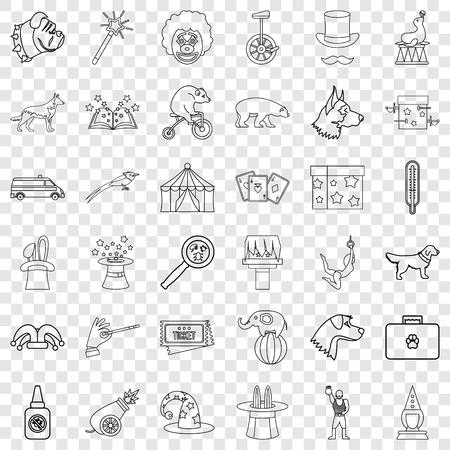 Conjunto de iconos de animales, estilo de contorno