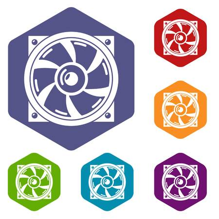 Thermal fan icons vector hexahedron