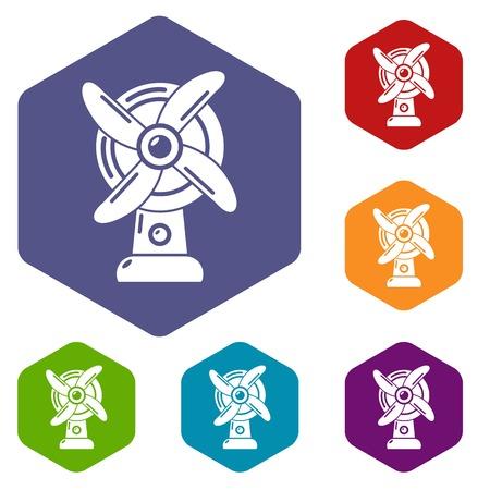 Ventilator icons vector hexahedron