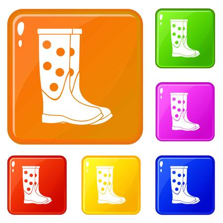 Rubber boots icons set collection vector 6 color isolated on white background