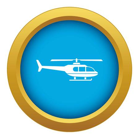Military helicopter icon blue vector isolated on white background for any design