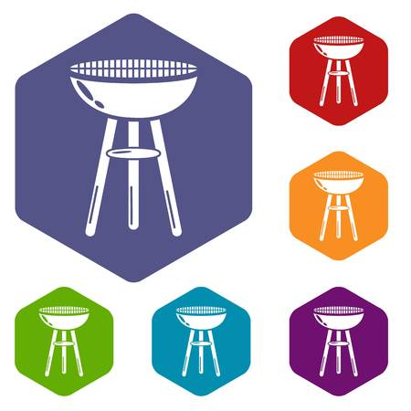 Barbecue icons vector hexahedron