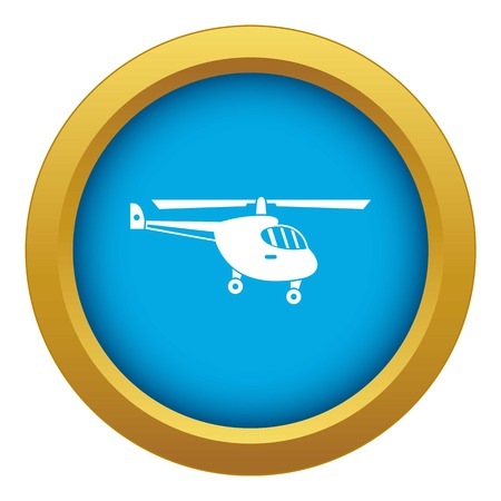 Helicopter icon blue vector isolated on white background for any design