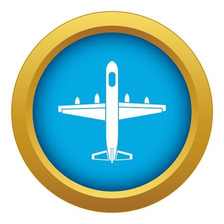 Military plane icon blue vector isolated on white background for any design Ilustração
