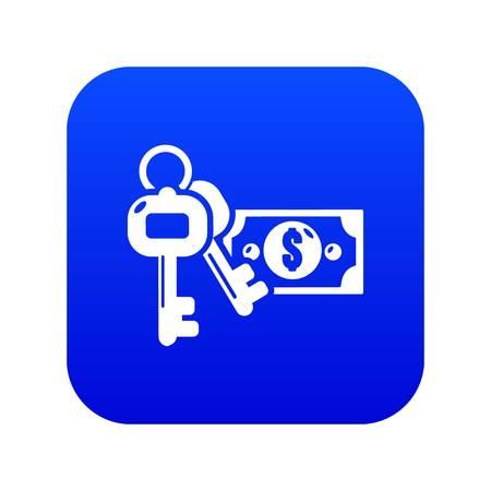 Safe money icon blue vector isolated on white background Illustration