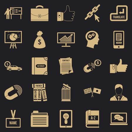 Business training icons set, simple style Illustration