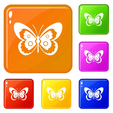 Butterfly icons set collection vector 6 color isolated on white background