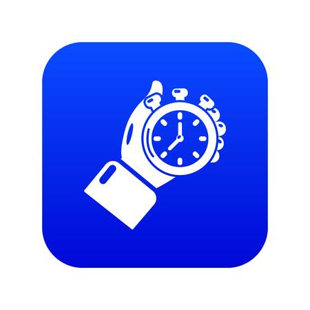 Stopwatch icon blue vector isolated on white background Banque d'images - 130240970